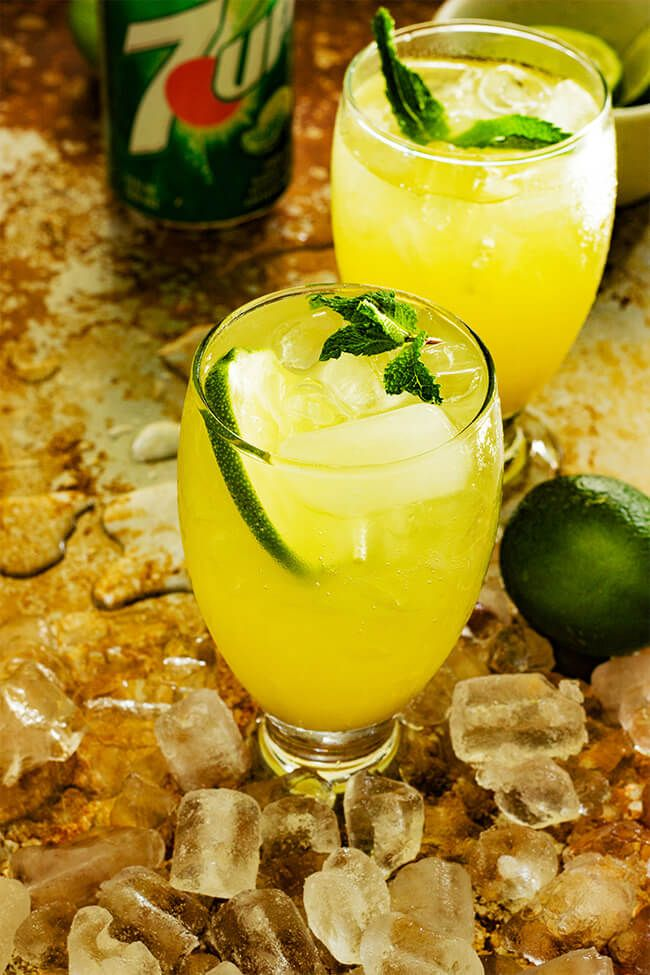 This drink is perfect for that weird season between winter and summer. And did I mention it only has 5 ingredients- pineapple juice, ginger, mint, lime juice and 7UP®! #ad #justadd7UP