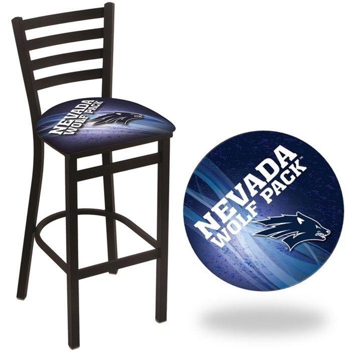 Nevada Wolf Pack D2 Stationary Ladder Back Bar Stool.  Visit SportsFansPlus.com for Details.