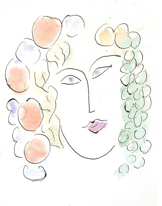 "STUDY FOR THE ILLUSTRATION PROJECT ""CANTICO DEI CANTICI""  pen, ink and watercolor   Private Collection  c. 1952  H Matisse"