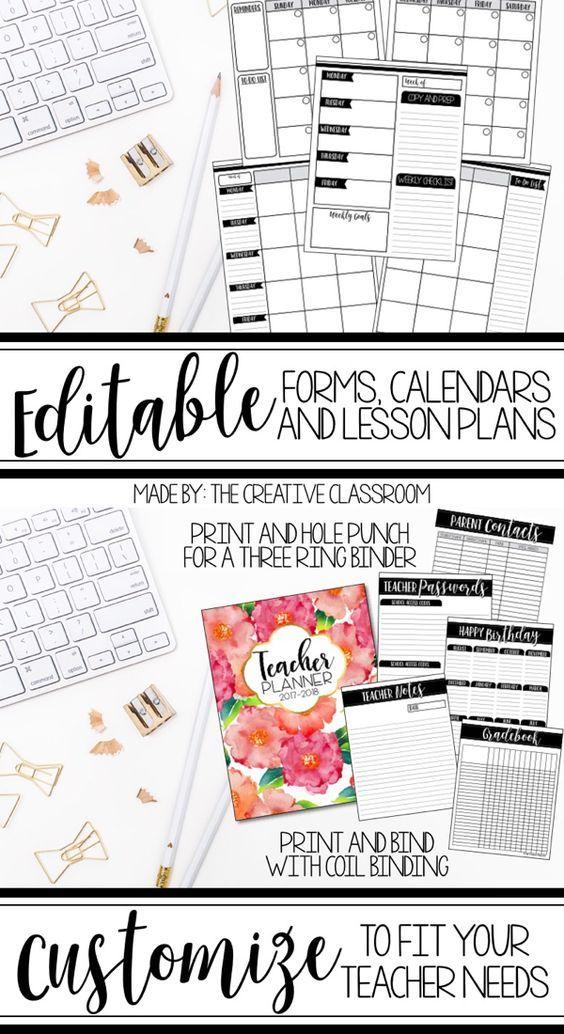 Editable Teacher Planner  Organizer Binder {The Classy Teacher