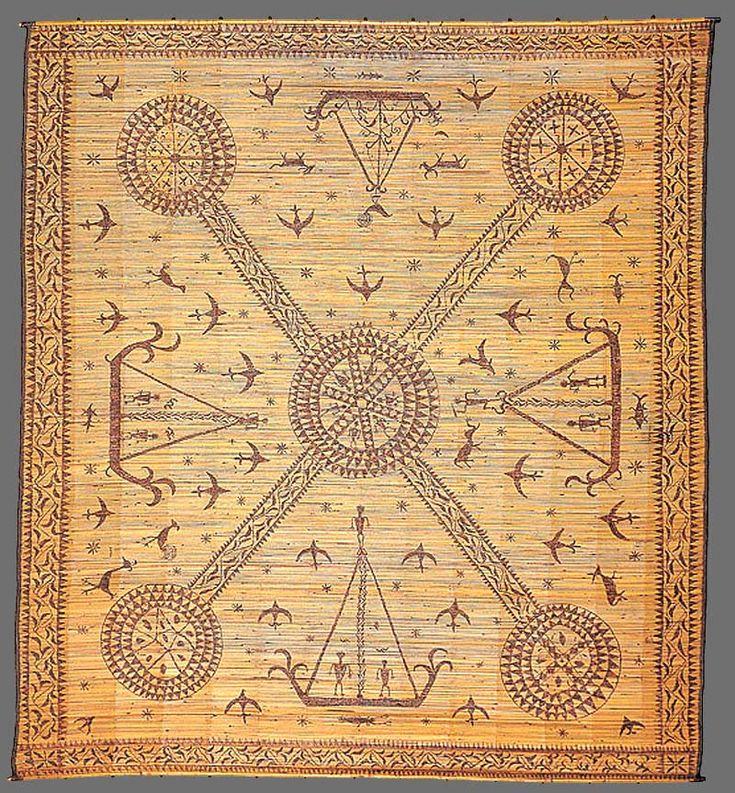 Paminggir people Ceremonial mat [lampit] late 19th century Lampung south Sumatra Indonesia rattan, cotton twining, burnt pokerwork