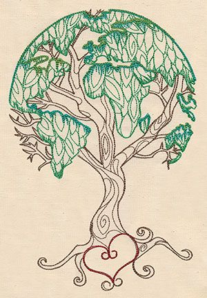 (Hand embroidery pattern available in the drop down menu.)  Earth Tree | Urban Threads: Unique and Awesome Embroidery Designs