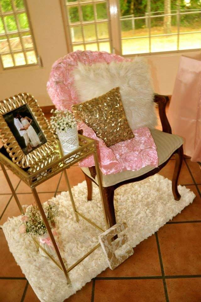 Pink and gold baby shower baby shower party ideas for Baby shower decoration sets