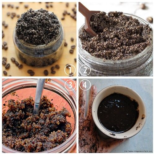 Easy coffee scrubs. Your skin will never feel or look better! Can be simplified to 3/4 coffee grounds, 1/4 brown sugar and a dash of olive oil to bring it into paste form... YOU MUST TRY! Exfoliates, fights cellulite, gets rid of the red bumps on the backs of arms, moisturizes, the works! http://mysweetsationtherapy.blogspot.co.uk/2010/09/got-coffee-wake-me-up-coffee-scrub-it.html