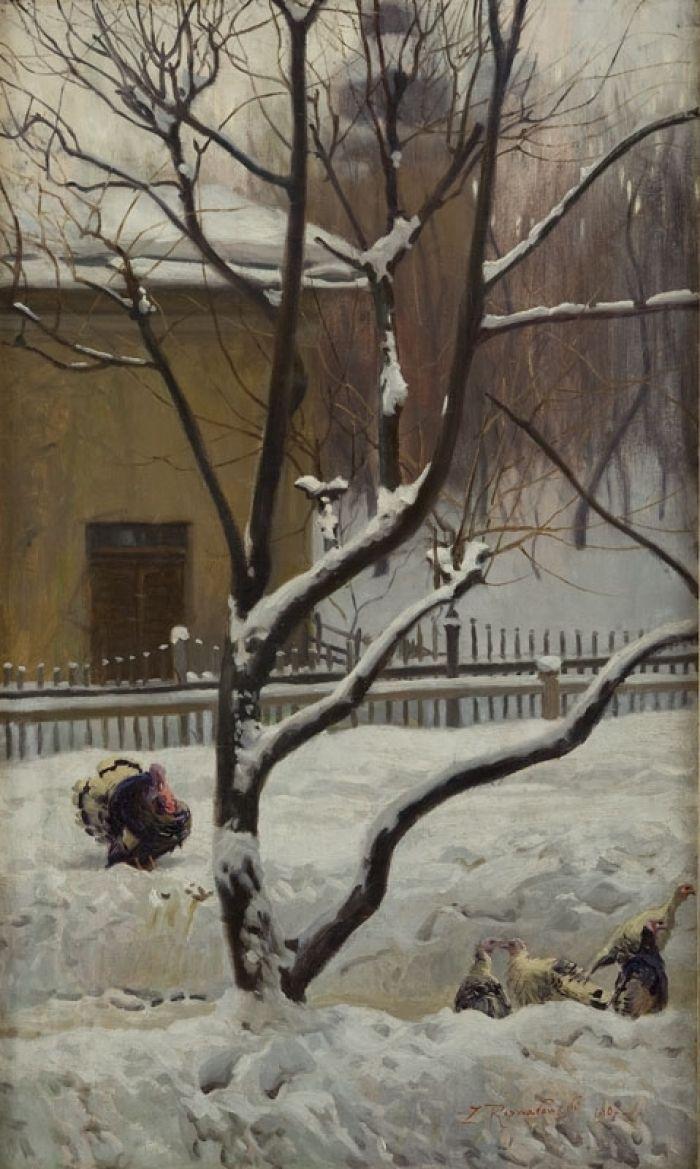 Zygmunt Rozwadowski - Indyki na śniegu, 1907 r.