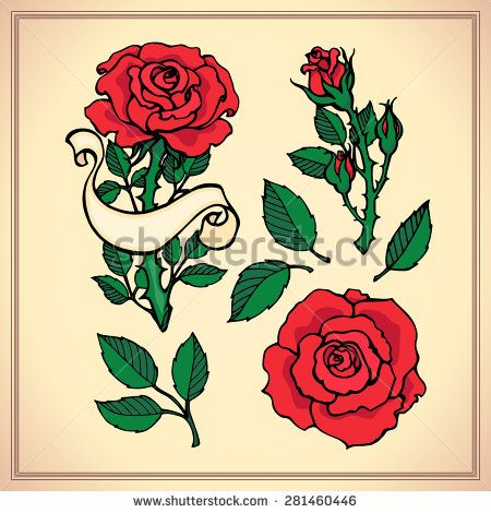 Tattoo set. Graphic vector illustration of roses. Hand drawn artwork. Love concept for wedding invitations, cards, tickets, congratulations, branding, logo, label. Black, red, brown green beige colors - stock vector