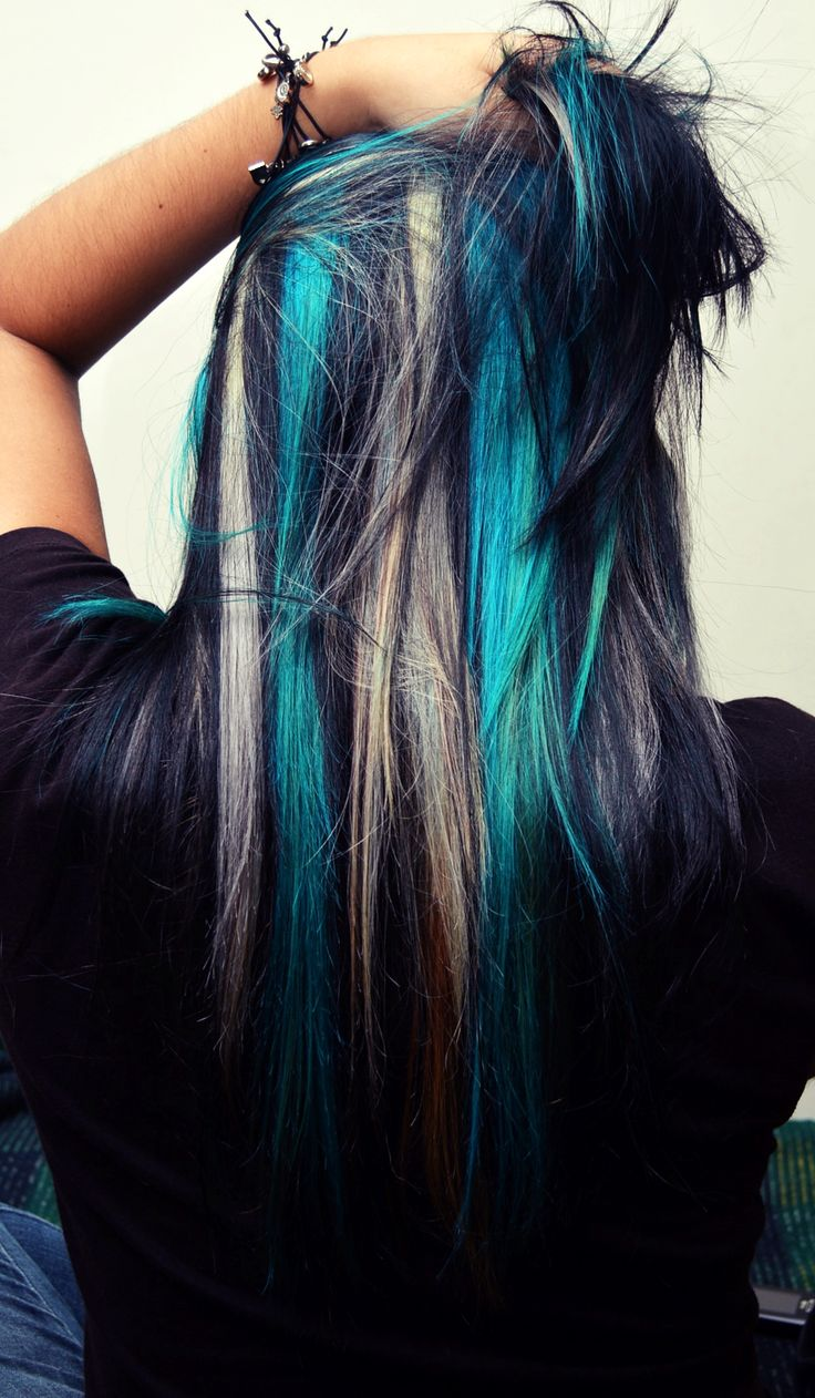 Best 25 teal highlights ideas on pinterest turquoise highlights black with blonde and turquoise hair atomic turquoise manic panic streaks pmusecretfo Image collections