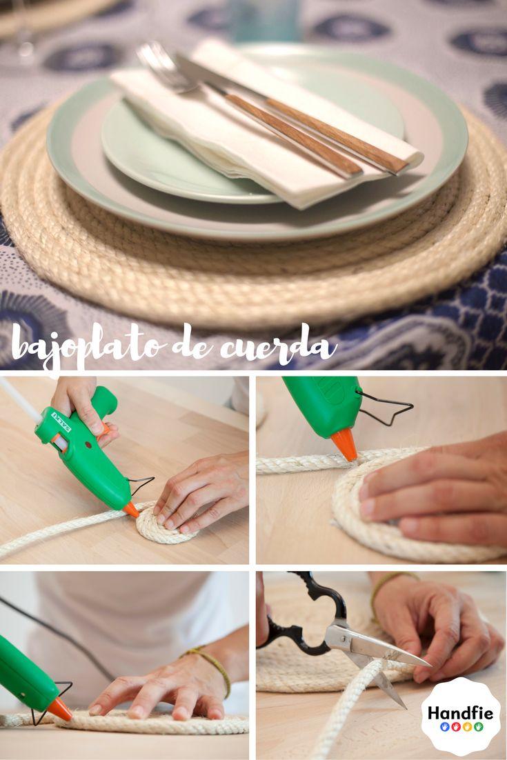 Bajoplatos DIY con cuerda ➜ pistola termoencoladora Salki y cuerda de cáñamo #Handfie #DIY #bajoplatos #homedecor #manualidades