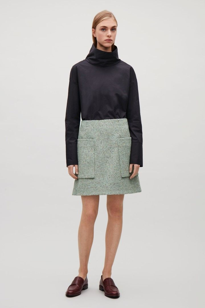 COS image 1 of Speckled wool A-line skirt in Light green