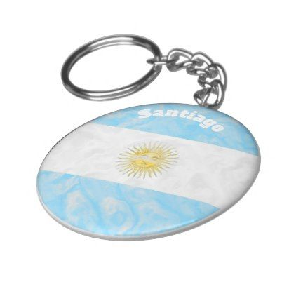 Personalized Argentinian Flag Design Keychain - blue gifts style giftidea diy cyo