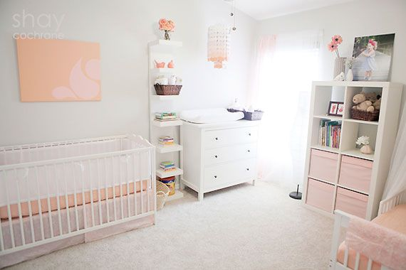 peach pink grey shared nursery