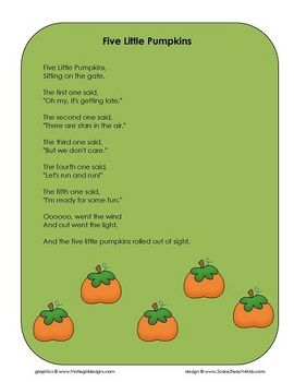 """I can remember this adorable Halloween song from when I was a kid! """"Five Little Pumpkins"""""""