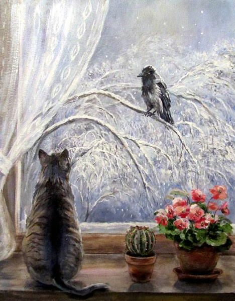 Cat in the window painting. Olga Vorobiova - February
