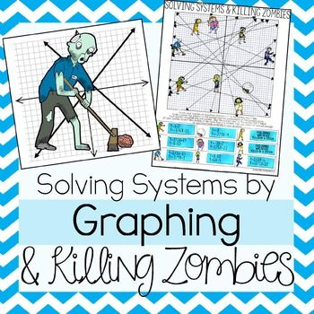 This Zombie themed graphing Systems of Equations activity will strengthen your students skills in solving Systems of Equations by graphing.All 7 systems are in Slope Intercept Form and Designed to be solved by GraphingHow It WorksStudents are given a graph with 9 zombies on it and 7 systems in slope-intercept form.