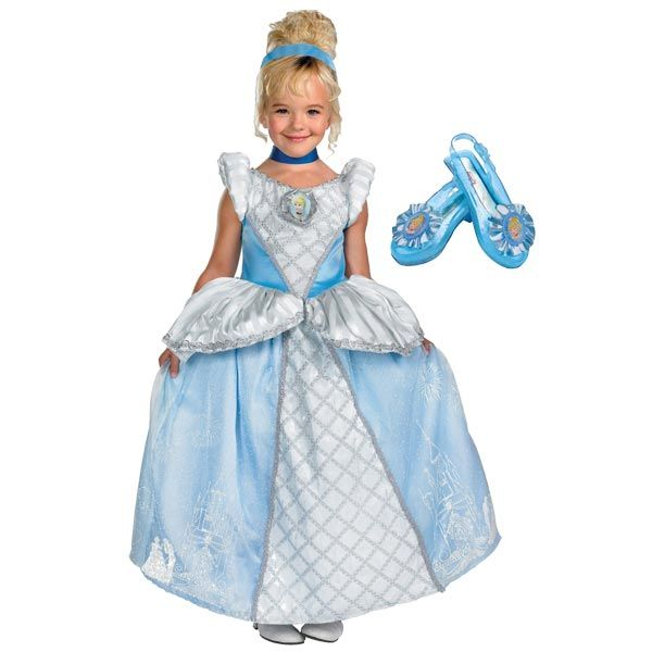 Great for your little Princess' birthday or creative play!  Complete Supreme Cinderella Girls Costume  #OfficialCostumes #Cinderella #costumes