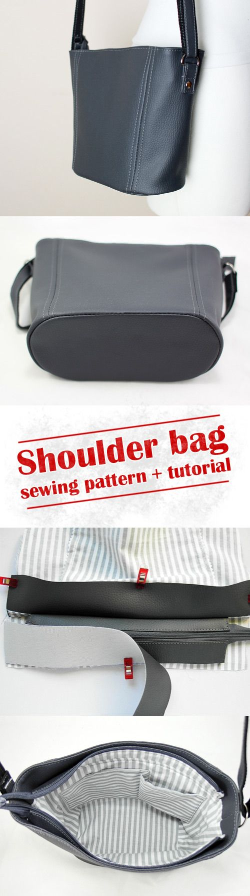 How to sew a faux leather bag, small bag - sewing pattern and tutorial