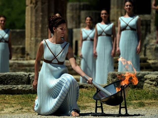 Rio Games flame lit at ancient Olympia - The Express Tribune
