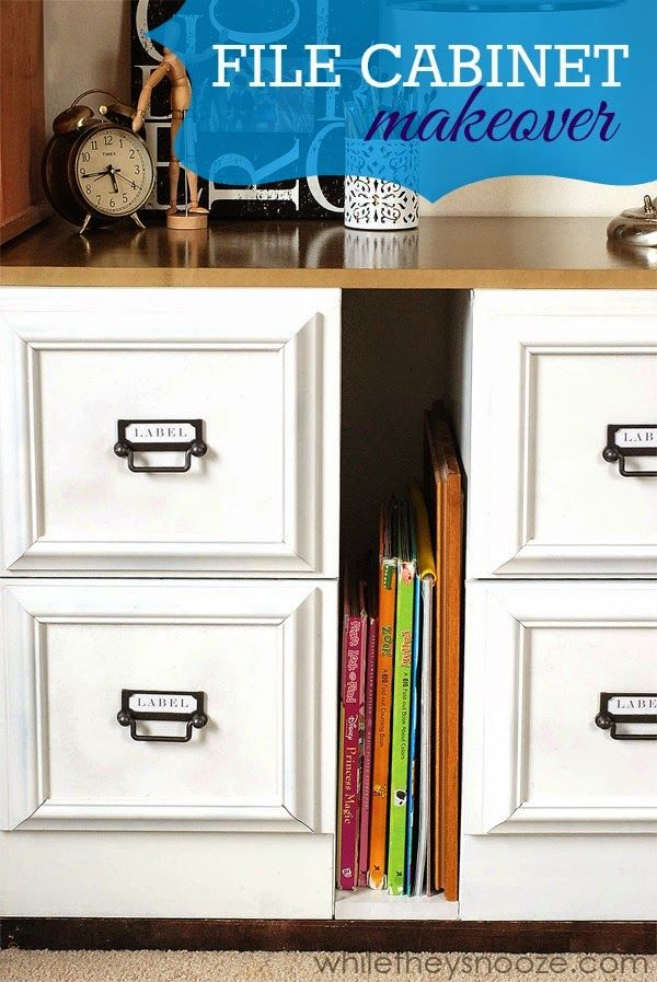 I love this metal file cabinet turned awesome from Sarah athttp://whiletheysnooze.blogspot.com/2014/05/file-cabinet-update.html?m=1