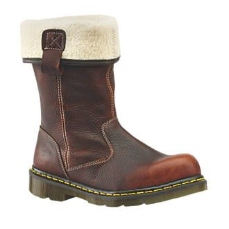 Dr Martens Rosa Fur-Lined Ladies Rigger Safety Size 4. Teak. 100% leather upper. Padded insole. http://www.MightGet.com/april-2017-1/dr-martens-rosa-fur-lined-ladies-rigger-safety.asp