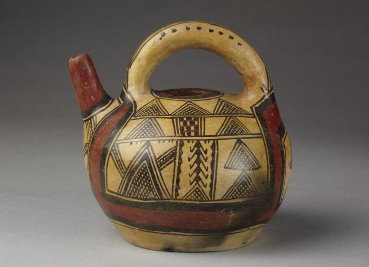 Africa | Kabyle vessel.  Earthenware, decorated with kaolin, coloured oxides and slips and covered with resin. | ca. prior 1868.