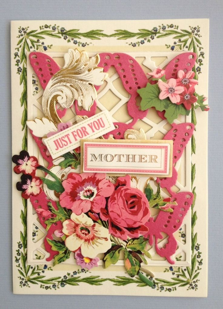 "Anna Griffin Papercrafts ""Just for You Mother"" Handmade Birthday Greeting Card 