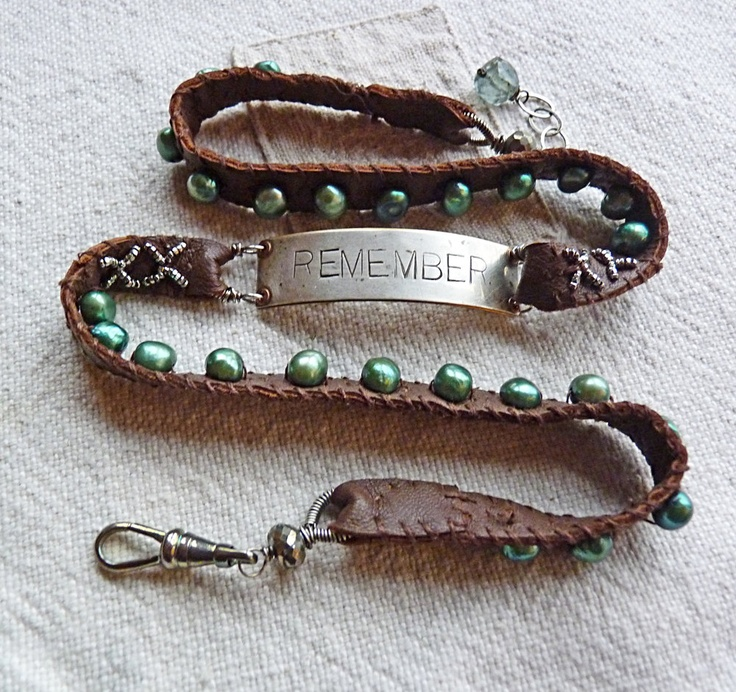 Leather & Pearl Wrap Bracelet | Nina Bagley The green pearls are perfect :)