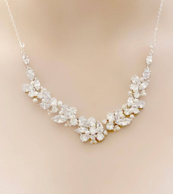 Bridal Silver Rhinestone Freshwater Pearl and Swarovski