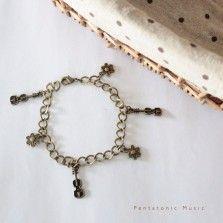 Violin Flower Bronze Bracelet