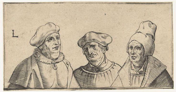 Anonymous | Drie mansportretten, Anonymous, 1500 - 1600 | Drie hoofden van mannen met verschillende hoofddeksels.