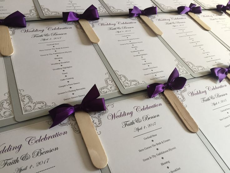 Paddle Fan Wedding Order of Service with Ornate Border in Silver & Purple