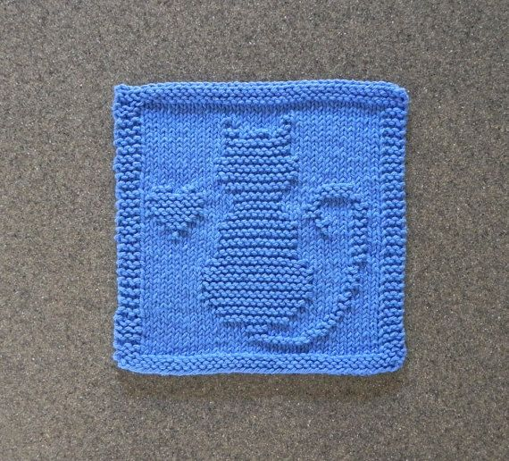 Knitted Dalek Pattern : CAT / KITTEN / HEART Knit Dishcloth. Hand Knitted Unique Design. Medium Blue ...