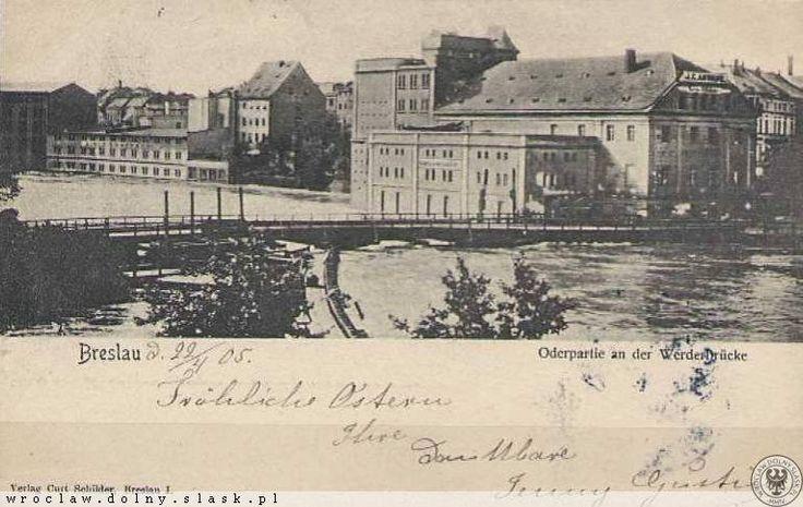 Stary most Pomorski oraz młyny na Kępie Mieszczańskiej.  Wysoki stan wody wskazuje na powódź.
