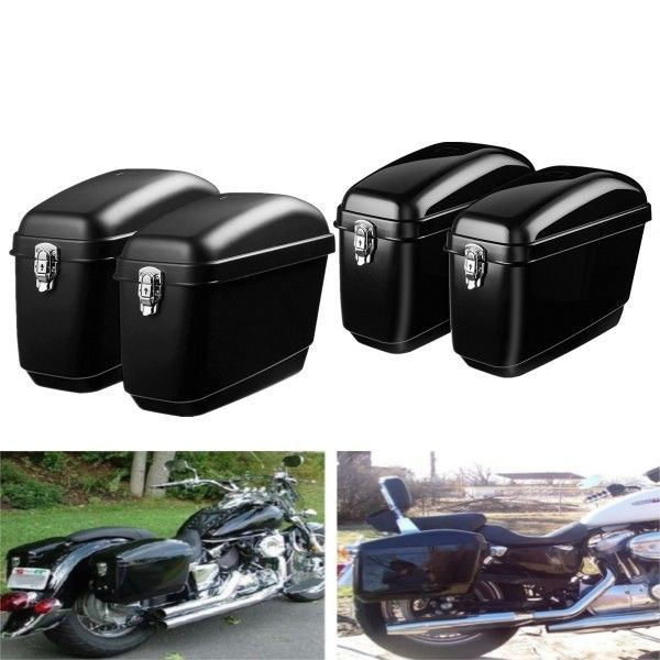 Pair 30l Side Luggage Case Hard Trunk Saddle Bags Motorcycle Panniers Box Cruise Unbranded Cruiser