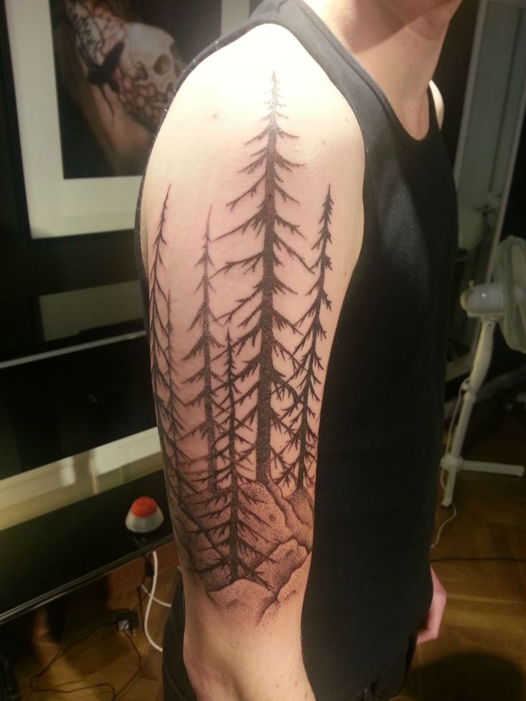 my very first tattoo swedish forest landscape dotwork for d sleeve and tree sleeve. Black Bedroom Furniture Sets. Home Design Ideas