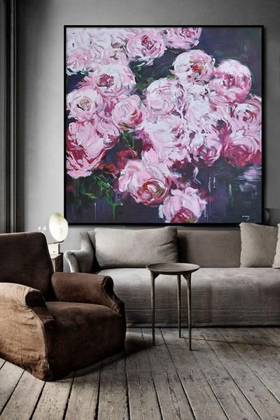 Abstract Flower Oil Painting, Pink Floral art canvas painting, hand painted rose painting on canvas.