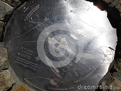 Hiking map Engraved on metal plate on Table Mountain in Cape Town, South Africa