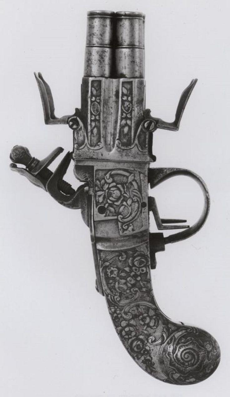 Belgian, Liège  Four-Barrel Flintlock Pocket Pistol, 1740/60  Steel