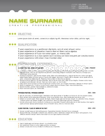 Clean professional resume layout template — Stock Vector #6161535