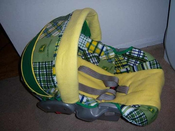 John Deere Car Seat Covers : Baby car seat cover made with john deere fabric by