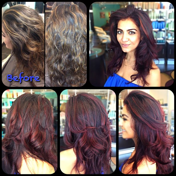 blond highlights to deep red base and cherry highlights :) #hair #red