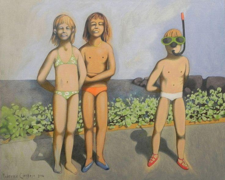 Dipinto ad olio su cartone telato. Ritratto di bambini. Oil painting on canvas