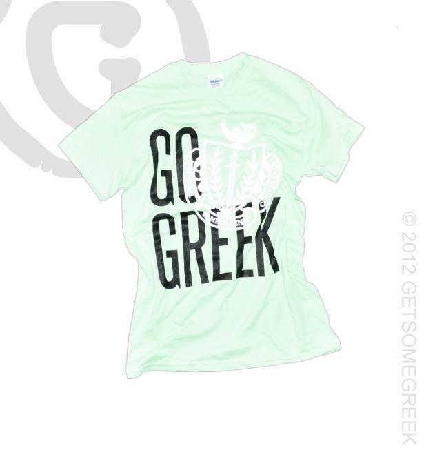Go Greek spearmint Panhellenic crest V-neck!!