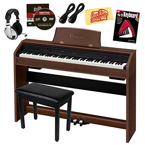 Casio Privia PX-760 88-Key Digital Piano Bundle with Gearlux Furniture-Style Bench, Austin Bazaar Instructional DVD, Two Gearlux 1/4-Inch Instrument Cables, Instructional Book, Headphones, and Polishing Cloth - Walnut -- Continue to the product at the image link.