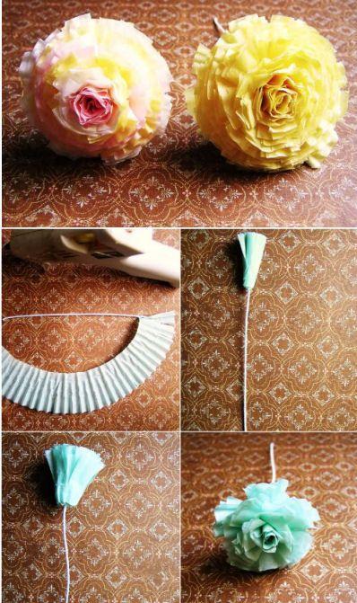 DIY bloem maken van cupcakes papiertjes- DIY flower cupcakes papers