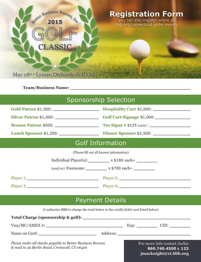 2015 BBB Golf Classic - Register Today! Think warm thoughts!
