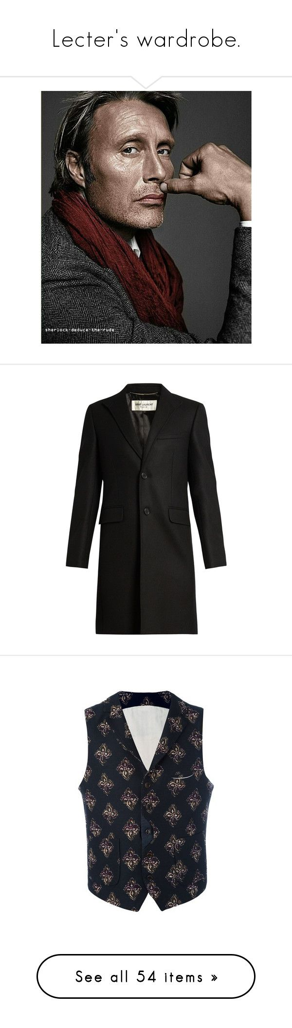 """""""Lecter's wardrobe."""" by mariettamyan ❤ liked on Polyvore featuring men's fashion, men's clothing, men's outerwear, men's coats, black, mens single breasted pea coat, mens wool outerwear, mens wool coats, mens single breasted wool coat and men's vests"""