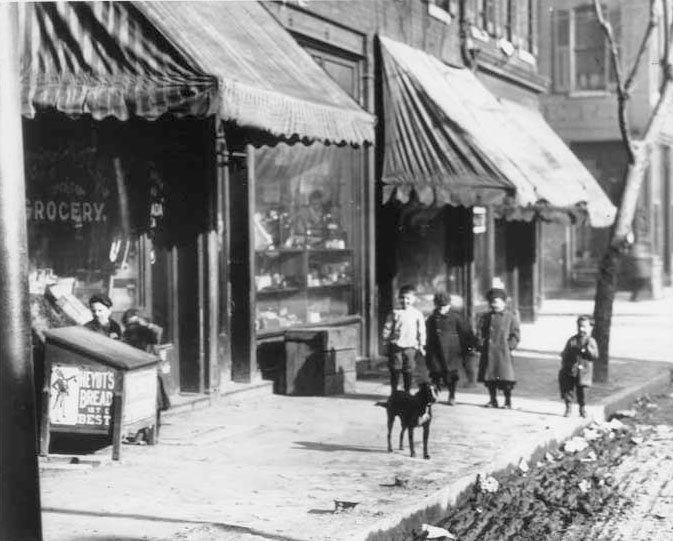 1209 Carr in St. Louis, 1895. Samuel Greenberg Grocer (one block from Beth Hamedrosh Hagodol Synagogue). Illustrator Paula Goodman Koz used this photograph to create the opening scene in Shlemiel Crooks.—From the The Swekosky-Notre Dame College Collection, created by Dr. William G. Swekosky, a St. Louis dentist and amateur historian. www.shlemielcrooks.com