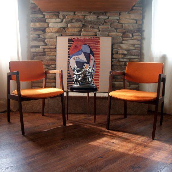 MID CENTURY MODERN Chair Burnt Orange Danish by ACESFINDSVINTAGE, $129.00
