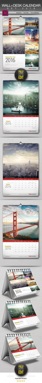 Wall + Desk Calendar 2016 Template InDesign INDD #design Download: http://graphicriver.net/item/wall-desk-calendar-2016/13236673?ref=ksioks