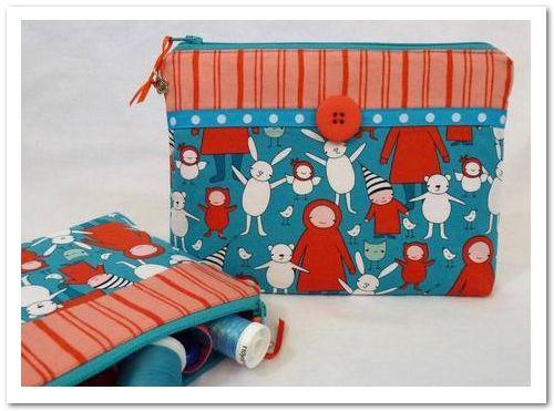 Cute idea to decorate a two-fabric zipper bag - I used a wide rick-rack for the ribbon, and I love how it turned out.   Whimsical Zippered Pouch using the BERNINA 380 - MASTER CRAFTSTERS
